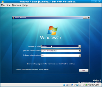 Initial Windows 7 install screen